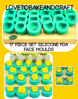 Fairy face, Pixie face, Elf face, Kawaii face, pPolymer face, set of 17 molds. Free shipping